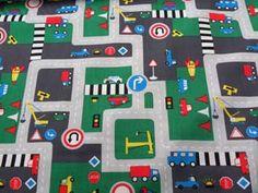 Kinderstoffen, Verkeersplein, grijs, groen