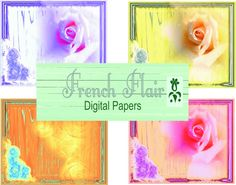 Printable Rose Tags /  Gift Tags / Collage by DinaPetiteOriginal