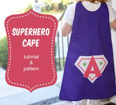 """Embarrassed that my daughter would run around the house with a dishtowel tucked into her shirt shouting """"Super Amanda to the rescue!"""", I decided to make her a cape. I created this pattern from one of her bibs. I wanted to keep it really simple. You can download the pattern here: Superhero Cape."""