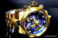 Men Invicta Reserve Venom Swiss Master Calendar Gold Plated Blue Steel Watch New in Jewelry & Watches, Watches, Parts & Accessories, Wristwatches | eBay