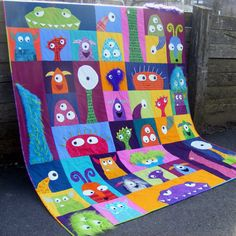 Unheimlich Quadrate Monster Quilt Muster PDF von ShinyHappyWorld