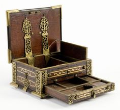 Scribes Box (India) - Date: circa Size: 11 x x inch - A scribes box, brass inlaid and bound teak and blackwood.
