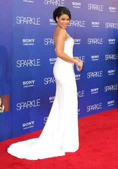 Jordin graced the carpet wearing a beaded white strapless number by Chagoury Couture – the same designer who created the scene-stealing red gown for Sparkle.
