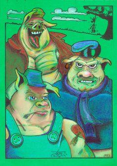 3 porquinhos - feito por Darci Campioti - visite meu blog - http://institutodeartesdarcicampioti.blogspot.com.br