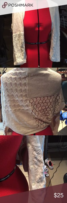 Anthro Angel of the north shrug In good used condition. Mixed media shrug features mix of crochet, knit, and lace and tiny buttons on sleeves. . Very beautiful. Oatmeal color. No flaws. Anthropologie Sweaters Shrugs & Ponchos