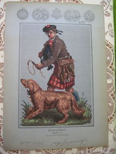 A Rare Berlin WoolWork Pattern Produced By Heinrich Kuehn ~ Scottish Highlander With His Dog