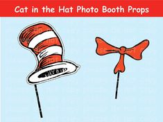 INSTANT DL - Cat in the Hat Photo Booth Props- Dr Suess Party Package - Printable set
