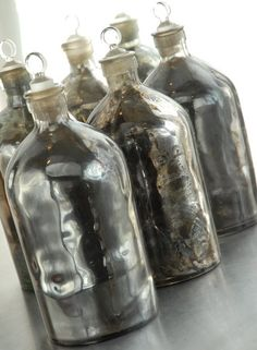 Mercury Glass Apothecary bottles-L-O-V-E! Apothecary Bottles, Altered Bottles, Antique Bottles, Vintage Bottles, Bottles And Jars, Antique Glass, Glass Bottles, Mason Jars, Perfume Bottles