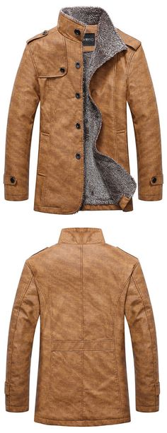 winter outfits:Stand Collar Single-Breasted Jacket