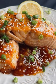 """Air Fryer Salmon with Spicy Peach Glaze 