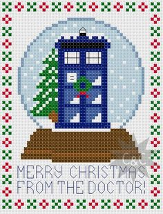** Please be aware that this listing is for a cross stitch pattern via download and not a completed sampler** Featuring the TARDIS in a wintry,