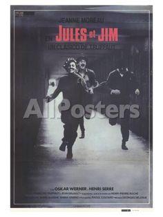 Jules and Jim, Spanish Movie Poster, 1961 People Art Print - 30 x 41 cm
