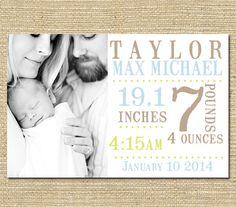 Baby Boy Birth Announcement   Custom Photo by PinkSangriaDesigns, $10.00