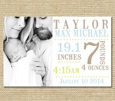 Baby Boy Birth Announcement -  Custom Photo Birth Announcement - Printable File -  Stamp Font Multi Colored