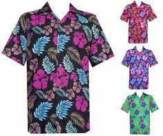 e09fcd9b Hawaiian Shirts Mens Hibiscus Floral Leaf Printed Beach Aloha Camp Party