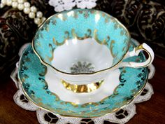 Cabinet Queen Anne Teacup, Aqua Footed Fine Bone China Tea Cup and Saucer - 12809
