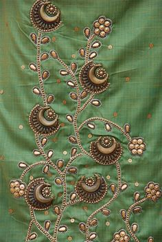 antique style metal sequin and bead embroidery on tussar cotton salwar set