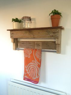 Custom made kitchen or bathroom shelf and towel rail - reclaimed pallet wood