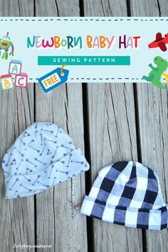 FREE Newborn Baby Hat sewing pattern. This Newborn Baby Hat pattern is super quick and easy to sew, and you only need less than 1/4 yard of knit fabric, so you can sew up a cute hat and at the same time use up some scrap fabrics. Baby hats are a necessity for a fall or winter baby, and knit hats are just so cute and cozy. Baby Bonnet Pattern Free, Baby Pants Pattern, Boys Sewing Patterns, Hat Patterns To Sew, Baby Hats Knitting, Knit Hats, Baby Sewing, Free Sewing, Sewing For Kids