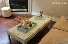 Driftwood paint treatment on an 80s coffee table!