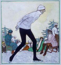 «Sobre la nieve»,Xavier Gosé, 1913. Grafit, tèmpera i fixador sobre cartró, 22,9 x 21,2 cm. MAMLL 0191 | PD Xavier Gosé