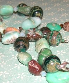 Necklace Gemstone Green Sterling Silver Swarovski Earthy Brown Mint Green handcrafted by yourstrulyjessica on Bonanza
