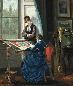 Albert Ludovici The Embroidery Lesson  1876