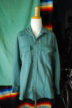 Retro chic 70's sage green polyester shirt by CerealVintageThrift, $32.00