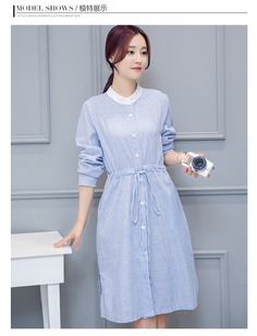 Wholesale price: US$ 10.67 Cheapest Striped Long-Sleeved shirt Dress Women Blue