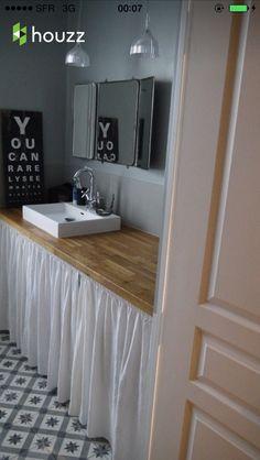 sdb enfant rideau blanc pour customiser meuble - Customiser Un Meuble De Salle De Bain