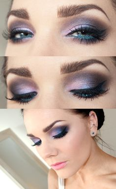 Like this except the thick liquid eye liner.. The lashes look a little witchy too. Love the blue in the waterline, makes he eyes pop. Nice purple palette.