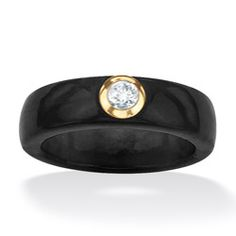 Angelina D'Andrea 10k Yellow Gold Black Jade and White Topaz Ring