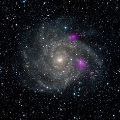 Blazing Black Holes Spotted in Spiral Beauty - This is a new view of spiral galaxy IC 342, also known as Caldwell 5. IC 342 lies 7 million light-years away in the Camelopardalis constellation. - Image credit: NASA/JPL-Caltech/DSS