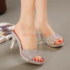 Women's High Heel Sandals Rhinestone Shoes Bowknot Platform Open Toe Slippers Sapatos Hot High Heels, Platform High Heels, Womens High Heels, Rhinestone Sandals, Rhinestone Bow, Dress Shoes, Shoes Heels, Sandals Outfit, Dance Shoes