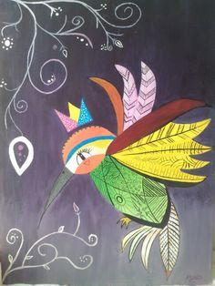 Un colibri lleno de vida. Pintura acrilico.