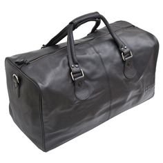 Black Soft 100% Nappa Leather Holdall from Prime Hide... rugged yet stylish leather holdall . Large spacious top zipped section - very nice looking holdall