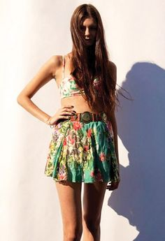 Floral bustier and skirt.