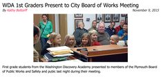 First grade students from the Washington Discovery Academy presented to members of the Plymouth Board of Public Works and Safety and pubic last night during their meeting. #WDAPlymouth #PCSCweCARE #PlymouthCSC_IN