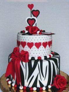 bolos de aniversario en colores blanco negro rojo