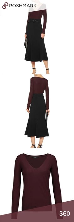 Theory Jehane ribbed stretch-jersey top Size Medium  Theory burgundy Jehane top Ribbed stretch-jersey Slips on 90% viscose, 10% elastane Theory Tops Blouses
