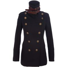 Burberry Prorsum Military coat with buckle collar ($2,170) ❤ liked on Polyvore featuring outerwear, coats, jackets, steampunk, coats & jackets, double breasted military coat, navy coat, navy military coat, military fashion and pleated coat