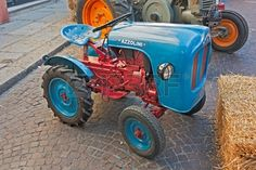old italian tractors exposed at Festa de borg vintage little tractor Azzolini exhibit on october 2 2 Stock Photo