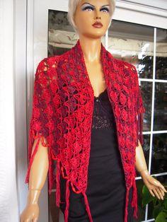 SALE Big red crochet handmade  knit wrap/ shawl with beads  ''toledo''. $70.00, via Etsy.