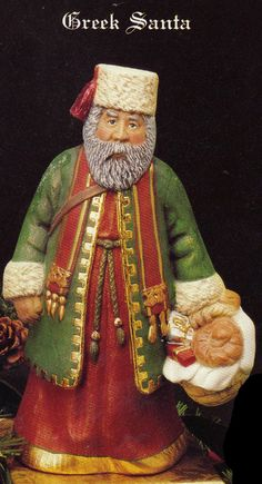 "10"",Old World Santa, Greek Santa, Vintage, Kimple Santa, Collectible Santa, Christmas decoration, Ready to paint, Ceramic bisque, u-paint"