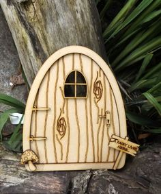 2 x Wooden Mdf Fairy Doors 15cm x 10cm Etched Heart cut out
