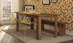 Conjunto para Sala de Jantar com Mesa, 2 Cadeiras e Banco Nobre/Cromado/Amarelo - Caaza | Lojas KD
