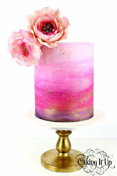 Beautiful cake. Pink gold rose ombre. Photo from Artisan Cake Company.