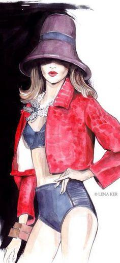 New fashion ilustration watercolor vintage bikini 30 Ideas Moda Fashion, Fashion Art, New Fashion, Editorial Fashion, Trendy Fashion, Fashion Models, Fashion Show, Girl Fashion, Fashion Outfits