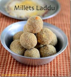 Millet laddu recipe with jaggery using 6 types of millets Dessert Recipes For Kids, Indian Dessert Recipes, Indian Sweets, Sweets Recipes, Sweet Desserts, Baking Recipes, Snack Recipes, Healthy Recipes, Indian Recipes