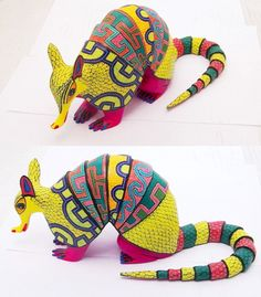 oaxacan wood carvings - armadillos